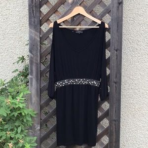Lovely Guess black dress, cutouts on arms, jewels